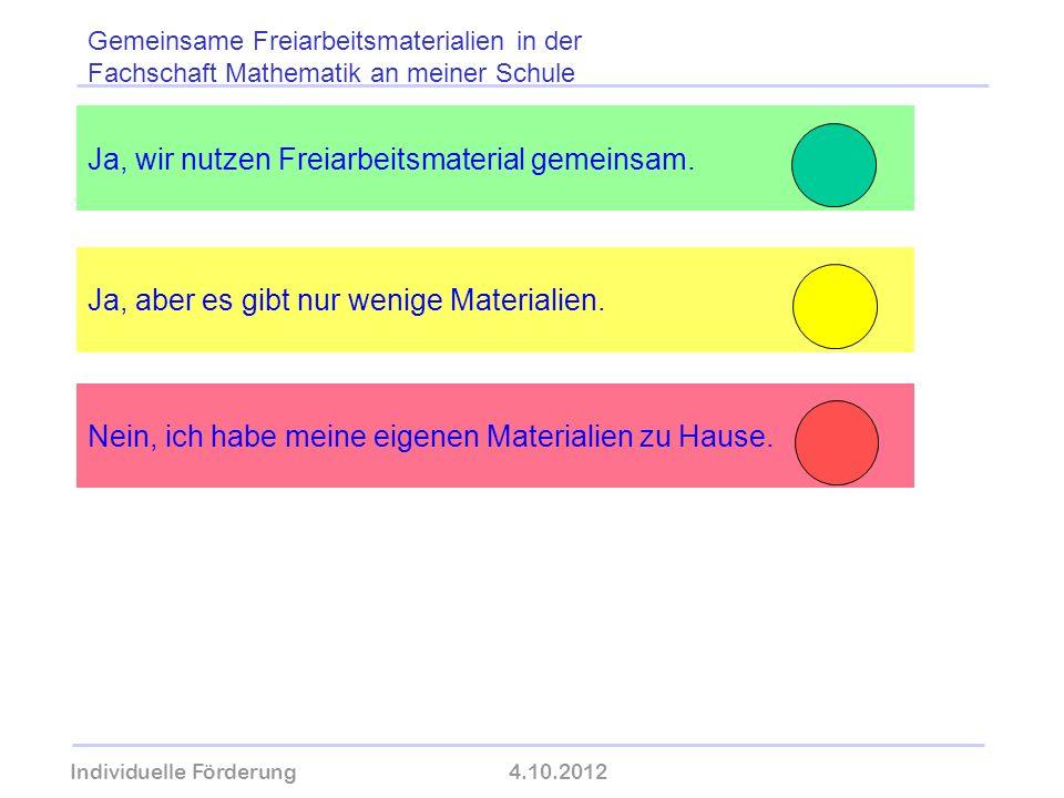 Individuelle Förderung4.10.2012 wolfram-thom.de Ja, wir nutzen Freiarbeitsmaterial gemeinsam. Ja, aber es gibt nur wenige Materialien. Gemeinsame Frei