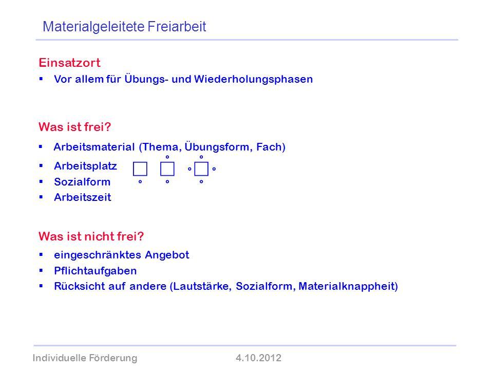 Individuelle Förderung4.10.2012 wolfram-thom.de Einsatzort Vor allem für Übungs- und Wiederholungsphasen Was ist frei? Arbeitsmaterial (Thema, Übungsf