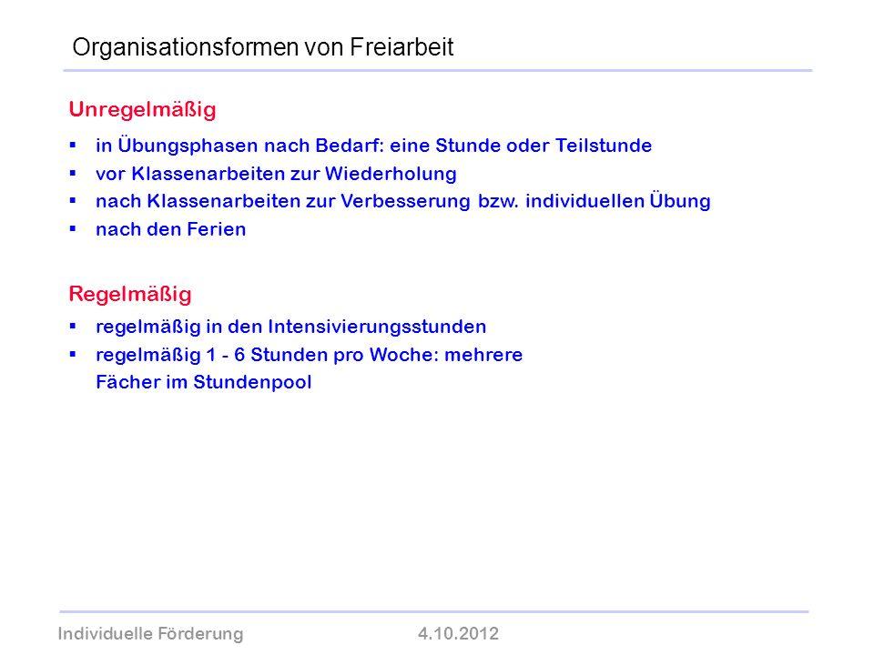 Individuelle Förderung4.10.2012 wolfram-thom.de Unregelmäßig in Übungsphasen nach Bedarf: eine Stunde oder Teilstunde vor Klassenarbeiten zur Wiederho