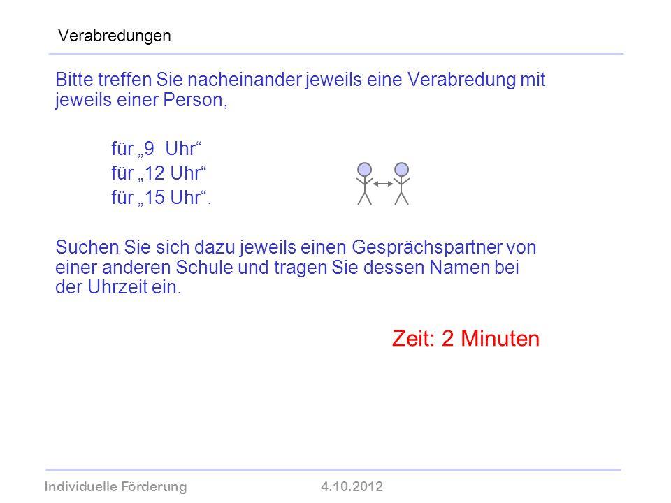 Individuelle Förderung4.10.2012 wolfram-thom.de Verabredungen Bitte treffen Sie nacheinander jeweils eine Verabredung mit jeweils einer Person, für 9