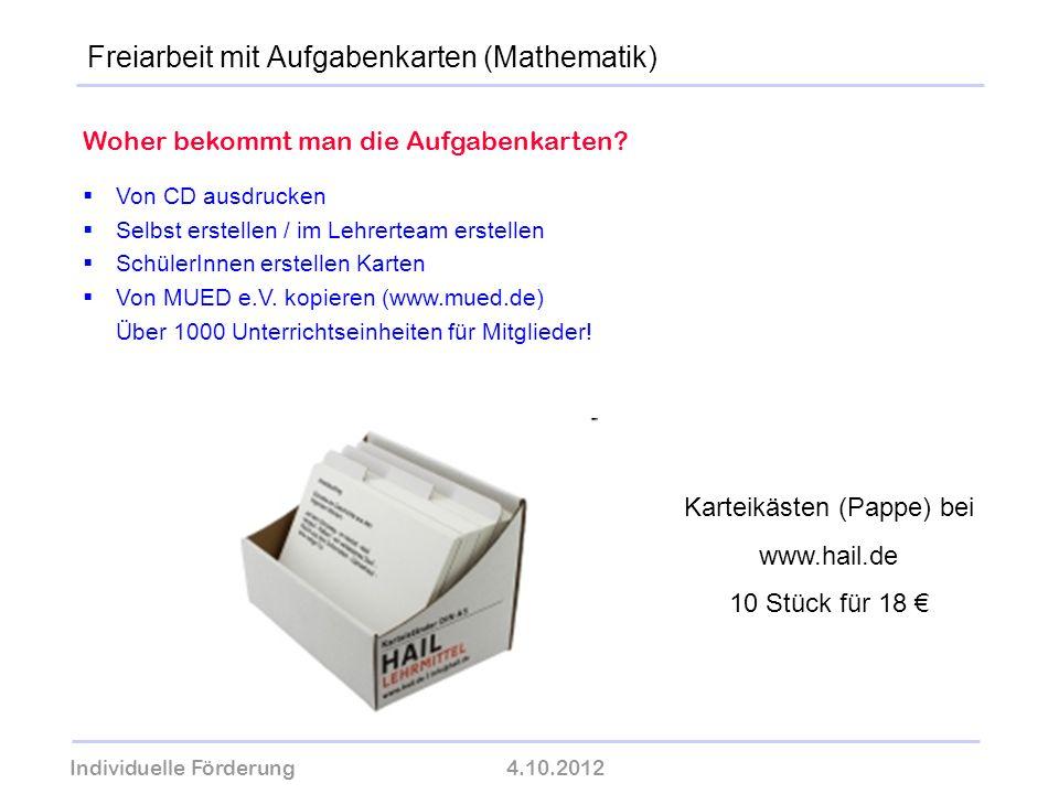 Individuelle Förderung4.10.2012 wolfram-thom.de Woher bekommt man die Aufgabenkarten? Von CD ausdrucken Selbst erstellen / im Lehrerteam erstellen Sch