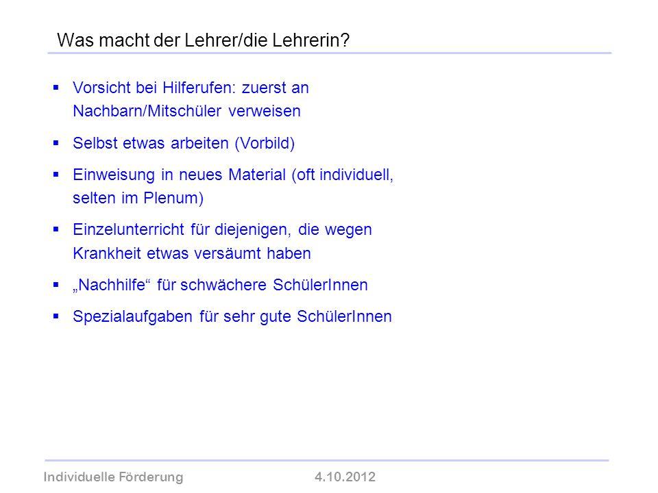 Individuelle Förderung4.10.2012 wolfram-thom.de Vorsicht bei Hilferufen: zuerst an Nachbarn/Mitschüler verweisen Selbst etwas arbeiten (Vorbild) Einwe