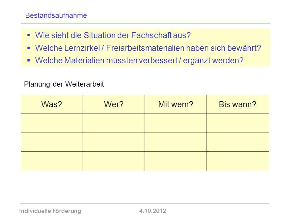 Individuelle Förderung4.10.2012 wolfram-thom.de Bestandsaufnahme Wie sieht die Situation der Fachschaft aus? Welche Lernzirkel / Freiarbeitsmaterialie