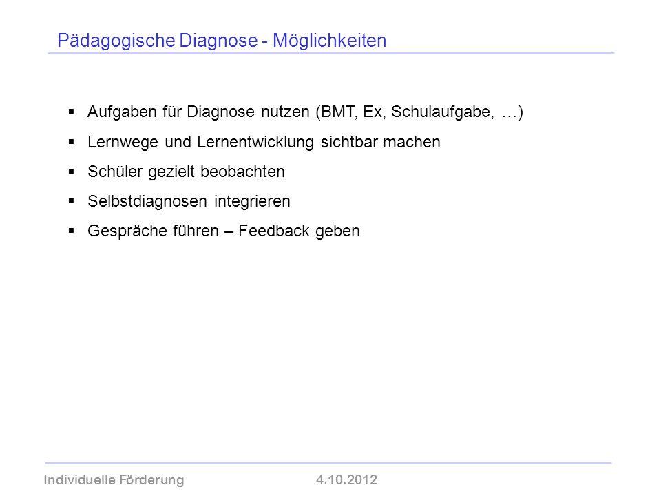 Pädagogische Diagnose - Möglichkeiten Individuelle Förderung4.10.2012 wolfram-thom.de Aufgaben für Diagnose nutzen (BMT, Ex, Schulaufgabe, …) Lernwege
