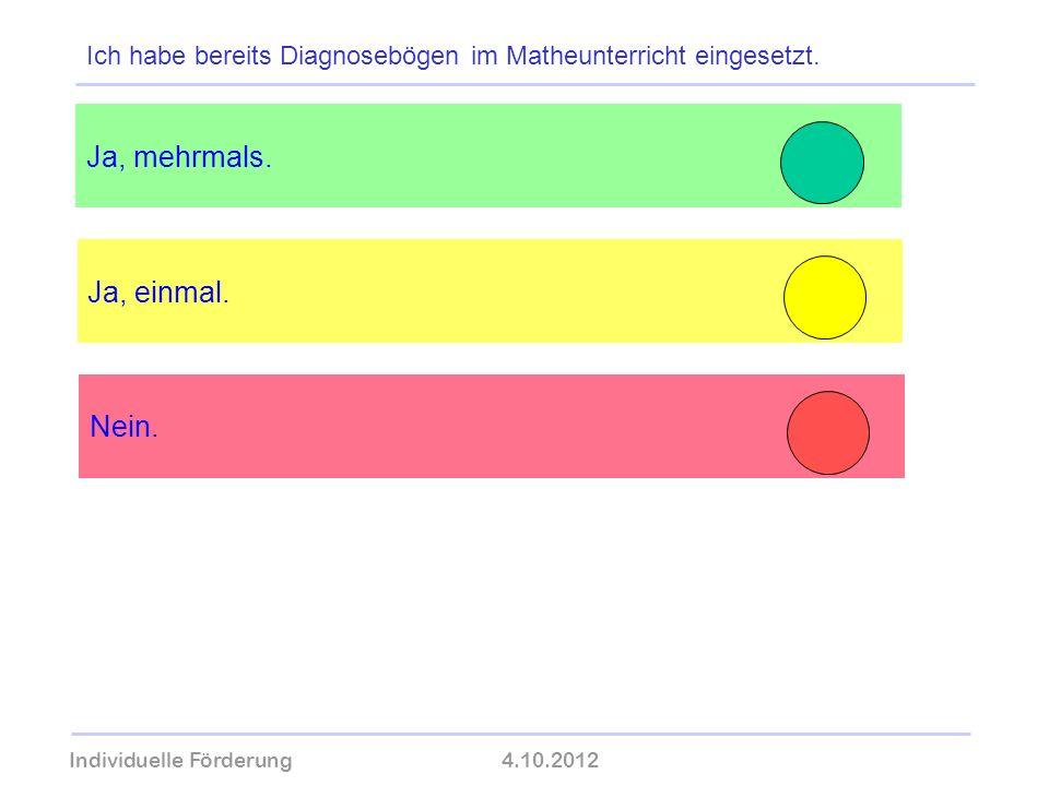 Individuelle Förderung4.10.2012 wolfram-thom.de Ja, einmal. Ja, mehrmals. Ich habe bereits Diagnosebögen im Matheunterricht eingesetzt. Nein.