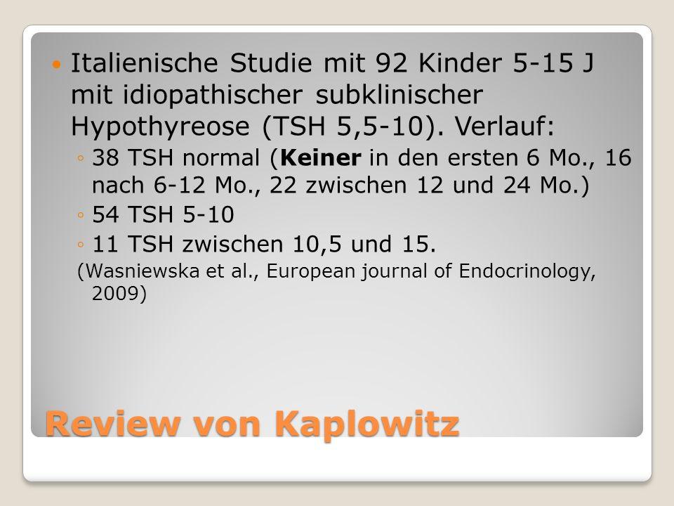 Review von Kaplowitz Italienische Studie mit 92 Kinder 5-15 J mit idiopathischer subklinischer Hypothyreose (TSH 5,5-10).