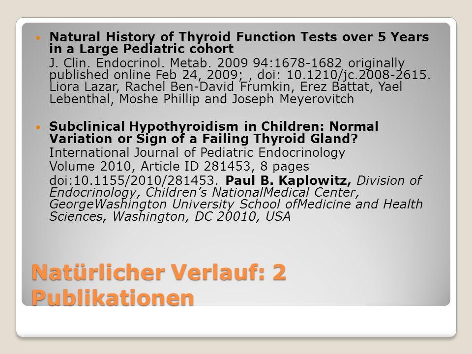 Lazar et al.: Verteilung in einer Population 2002 TSH (mIU/l)Anzahl Kinder n (%) Normal (0,35-5,5)116,794 (96.5) Low (0.35)320 (0.2) Elevated (5.5 to 10)3,475 (2.9) Highly elevated (10)463 (0.4) TotalTotal 121,052 (100)