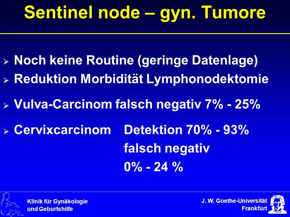 J. W. Goethe-Universität Frankfurt Klinik für Gynäkologie und Geburtshilfe Sentinel node – gyn. Tumore Noch keine Routine (geringe Datenlage) Reduktio