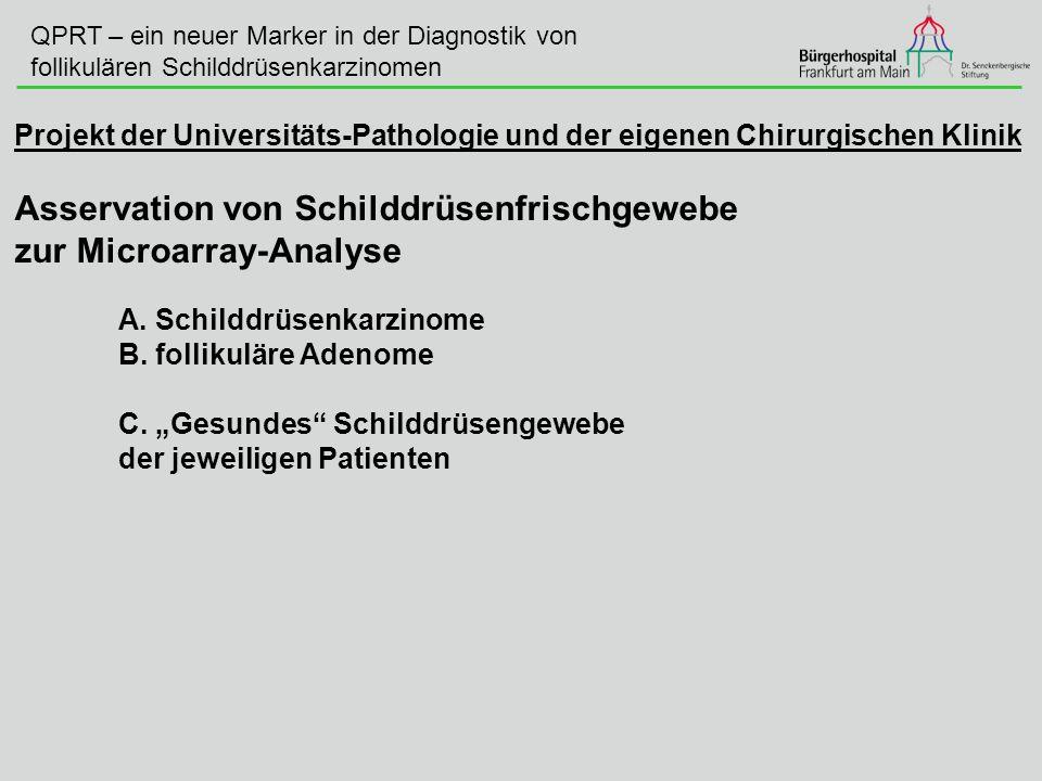 Projekt der Universitäts-Pathologie und der eigenen Chirurgischen Klinik Asservation von Schilddrüsenfrischgewebe zur Microarray-Analyse A. Schilddrüs