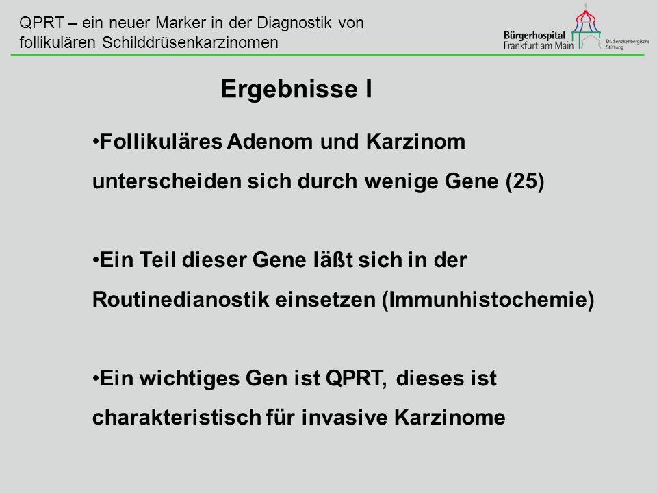 QPRT – ein neuer Marker in der Diagnostik von follikulären Schilddrüsenkarzinomen Follikuläres Adenom und Karzinom unterscheiden sich durch wenige Gen