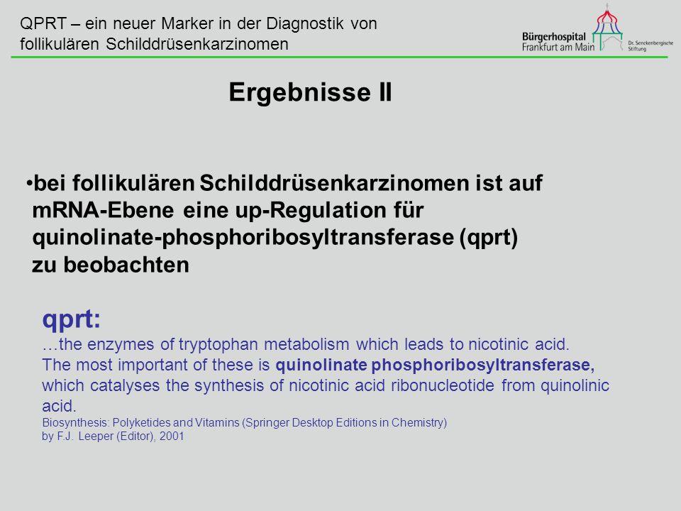 QPRT – ein neuer Marker in der Diagnostik von follikulären Schilddrüsenkarzinomen Ergebnisse II bei follikulären Schilddrüsenkarzinomen ist auf mRNA-E