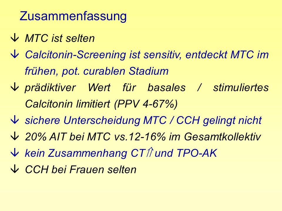 Zusammenfassung âMTC ist selten âCalcitonin-Screening ist sensitiv, entdeckt MTC im frühen, pot. curablen Stadium âprädiktiver Wert für basales / stim