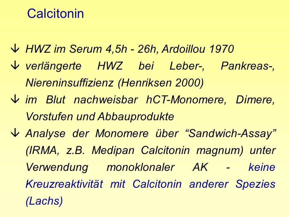 Calcitonin âHWZ im Serum 4,5h - 26h, Ardoillou 1970 âverlängerte HWZ bei Leber-, Pankreas-, Niereninsuffizienz (Henriksen 2000) âim Blut nachweisbar h