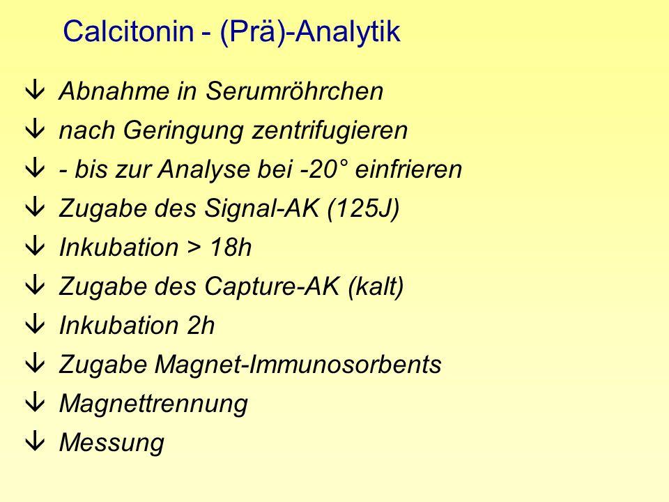 Calcitonin - (Prä)-Analytik âAbnahme in Serumröhrchen ânach Geringung zentrifugieren â- bis zur Analyse bei -20° einfrieren âZugabe des Signal-AK (125