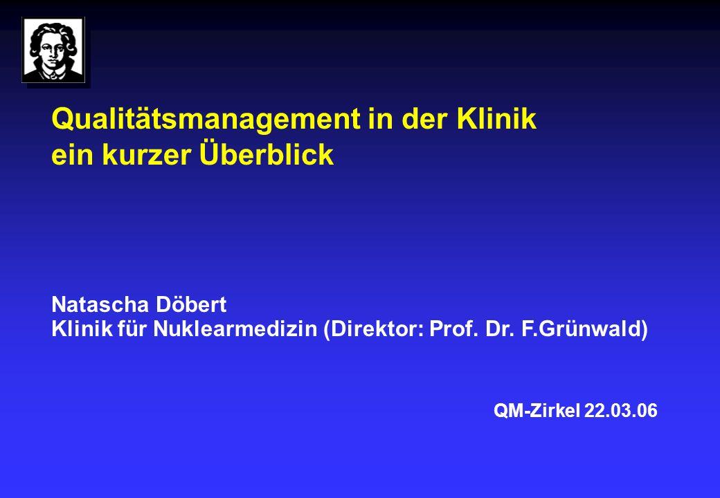 Qualitätsmanagement in der Klinik ein kurzer Überblick Natascha Döbert Klinik für Nuklearmedizin (Direktor: Prof.