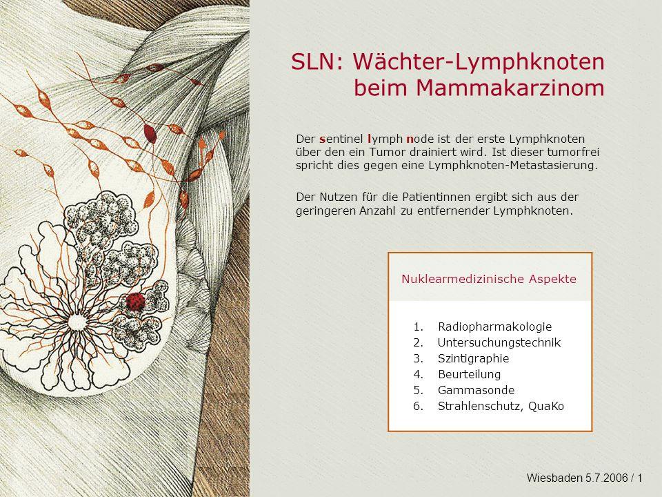 SLN: Wächter-Lymphknoten beim Mammakarzinom Der sentinel lymph node ist der erste Lymphknoten über den ein Tumor drainiert wird. Ist dieser tumorfrei