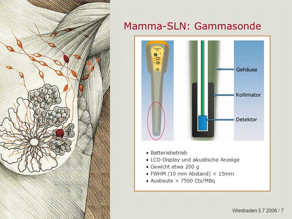 Mamma-SLN: Gammasonde Wiesbaden 5.7.2006 / 7 Batteriebetrieb LCD-Display und akustische Anzeige Gewicht etwa 200 g FWHM (10 mm Abstand) < 15mm Ausbeut