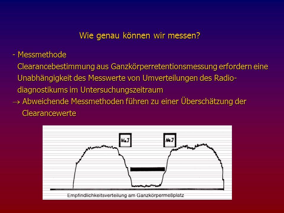 Allgemeine Formel zur Clearanceberechnung Diese geht davon aus, daß die Ausscheidung der verwendeten Substanzen proportional zu der Konzentration im Plasma ist.