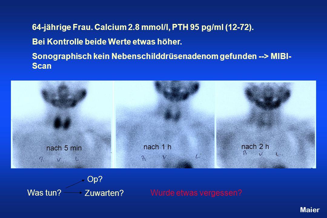 64-jährige Frau.Calcium 2.8 mmol/l, PTH 95 pg/ml (12-72).