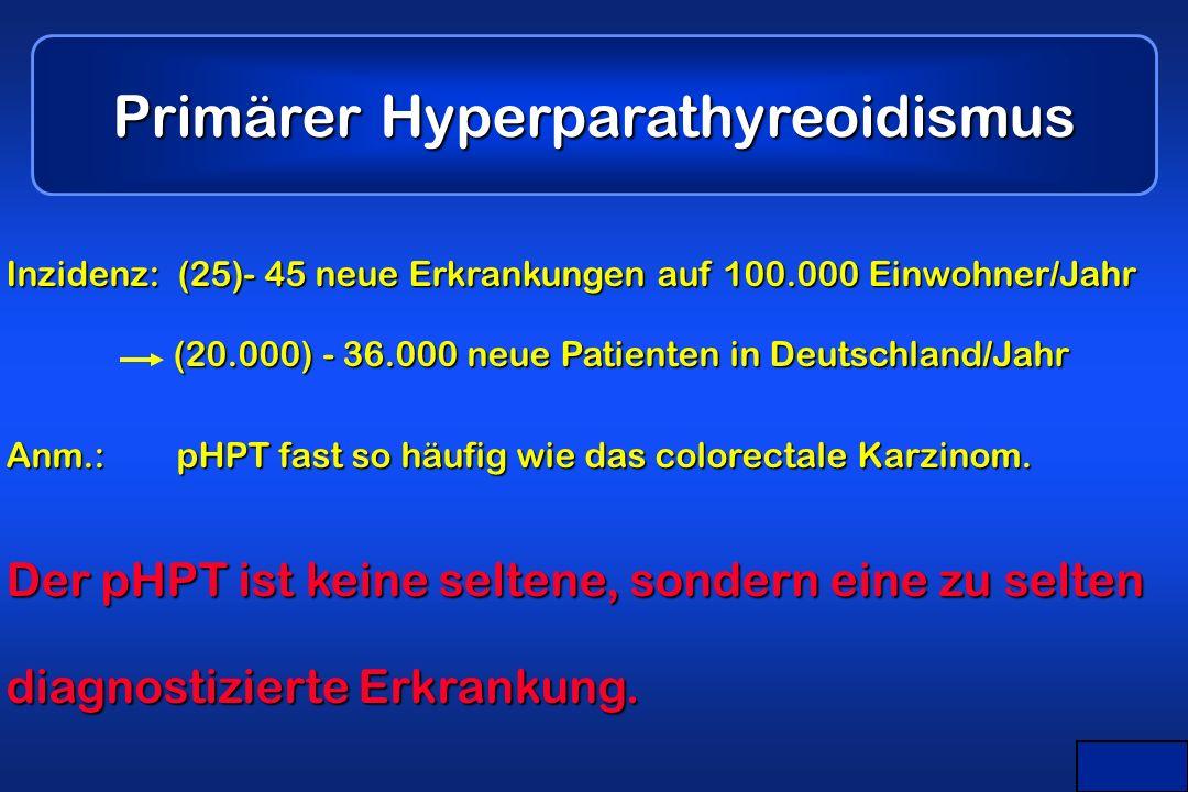 Maier Primärer Hyperparathyreoidismus Inzidenz: (25)- 45 neue Erkrankungen auf 100.000 Einwohner/Jahr (20.000) - 36.000 neue Patienten in Deutschland/Jahr Anm.: pHPT fast so häufig wie das colorectale Karzinom.