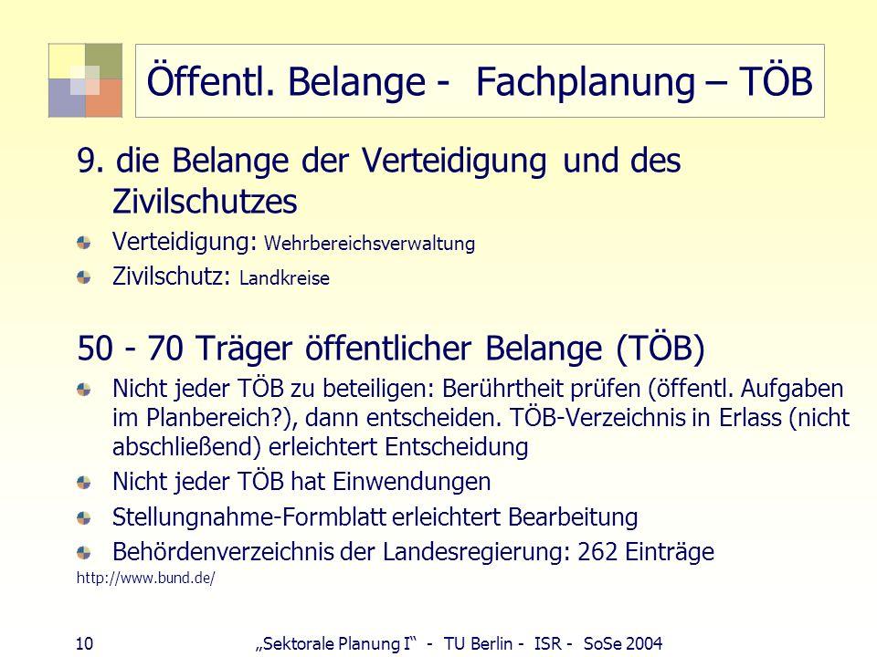 10 Sektorale Planung I - TU Berlin - ISR - SoSe 2004 Öffentl. Belange - Fachplanung – TÖB 9. die Belange der Verteidigung und des Zivilschutzes Vertei