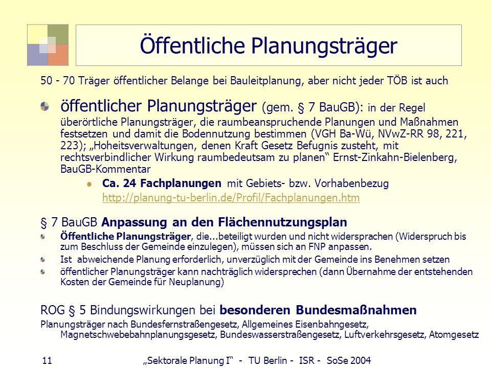 11 Sektorale Planung I - TU Berlin - ISR - SoSe 2004 Öffentliche Planungsträger 50 - 70 Träger öffentlicher Belange bei Bauleitplanung, aber nicht jed
