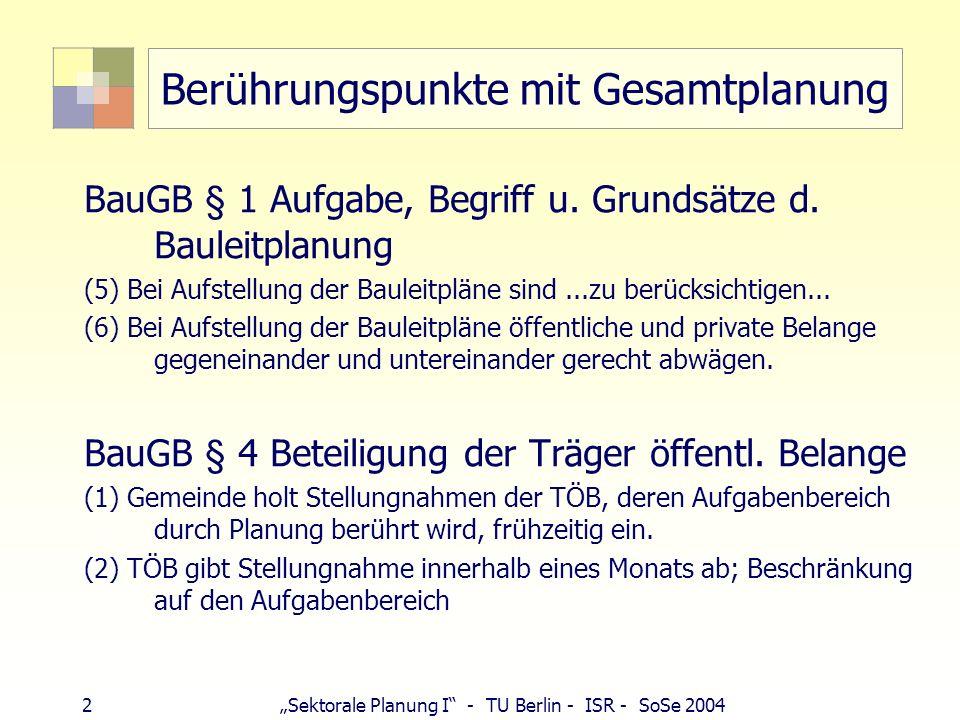 2 Sektorale Planung I - TU Berlin - ISR - SoSe 2004 Berührungspunkte mit Gesamtplanung BauGB § 1 Aufgabe, Begriff u. Grundsätze d. Bauleitplanung (5)