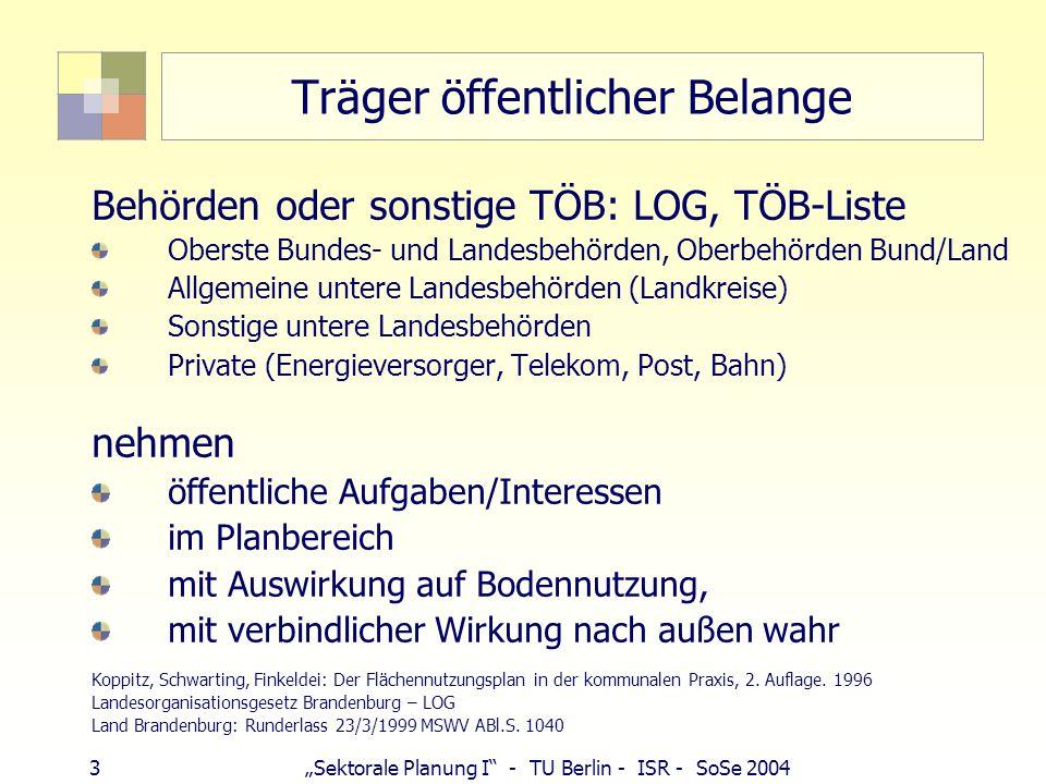 3 Sektorale Planung I - TU Berlin - ISR - SoSe 2004 Träger öffentlicher Belange Behörden oder sonstige TÖB: LOG, TÖB-Liste Oberste Bundes- und Landesb