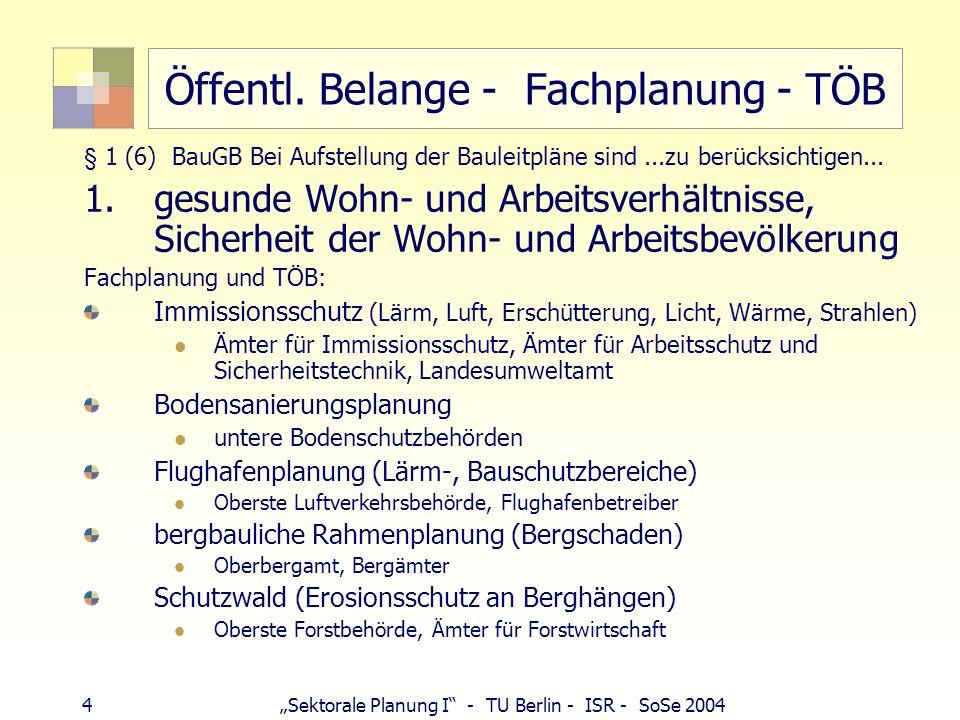 4 Sektorale Planung I - TU Berlin - ISR - SoSe 2004 Öffentl. Belange - Fachplanung - TÖB § 1 (6) BauGB Bei Aufstellung der Bauleitpläne sind...zu berü