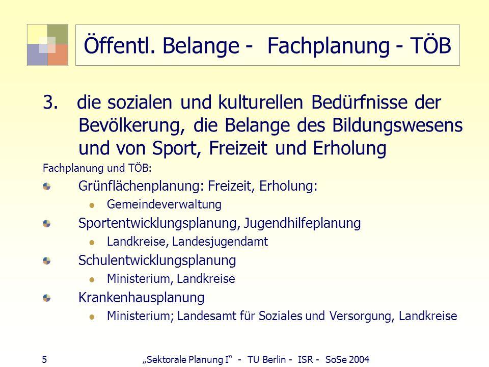 5 Sektorale Planung I - TU Berlin - ISR - SoSe 2004 Öffentl. Belange - Fachplanung - TÖB 3. die sozialen und kulturellen Bedürfnisse der Bevölkerung,
