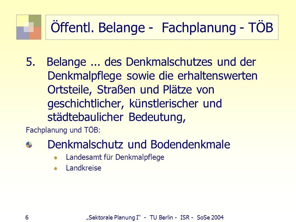 6 Sektorale Planung I - TU Berlin - ISR - SoSe 2004 Öffentl. Belange - Fachplanung - TÖB 5. Belange... des Denkmalschutzes und der Denkmalpflege sowie