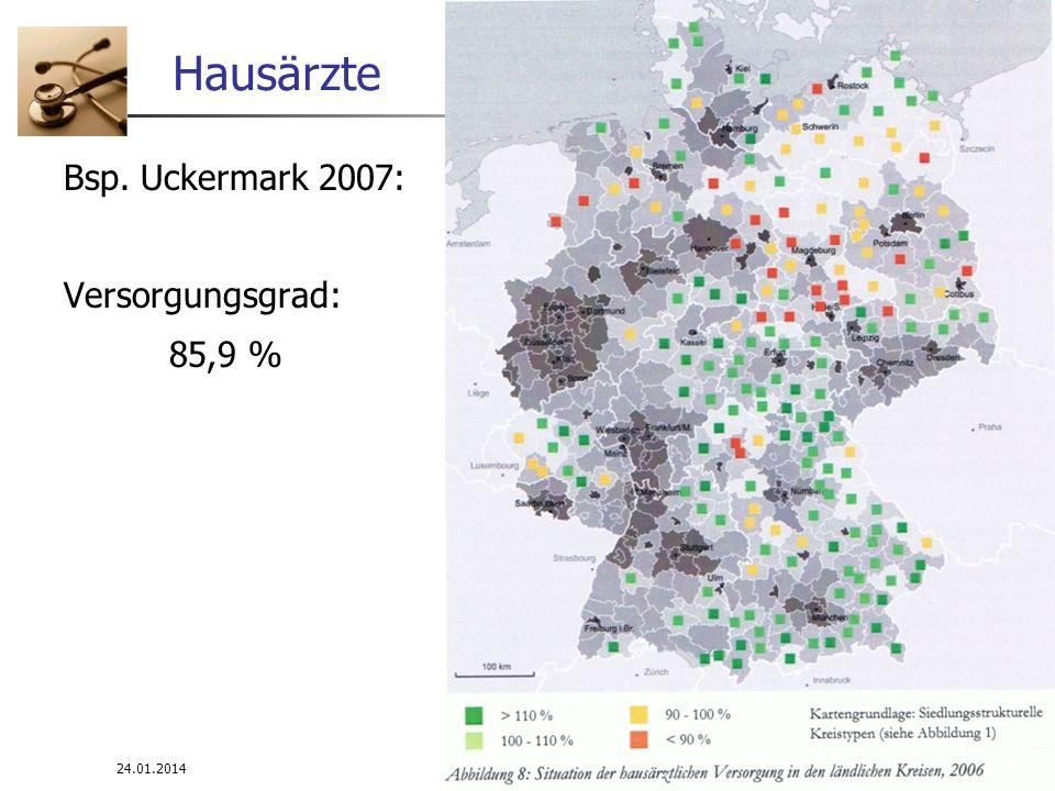 24.01.2014 WS 08/09 Infrastrukturplanung 12 Hausärzte Bsp. Uckermark 2007: Versorgungsgrad: 85,9 %