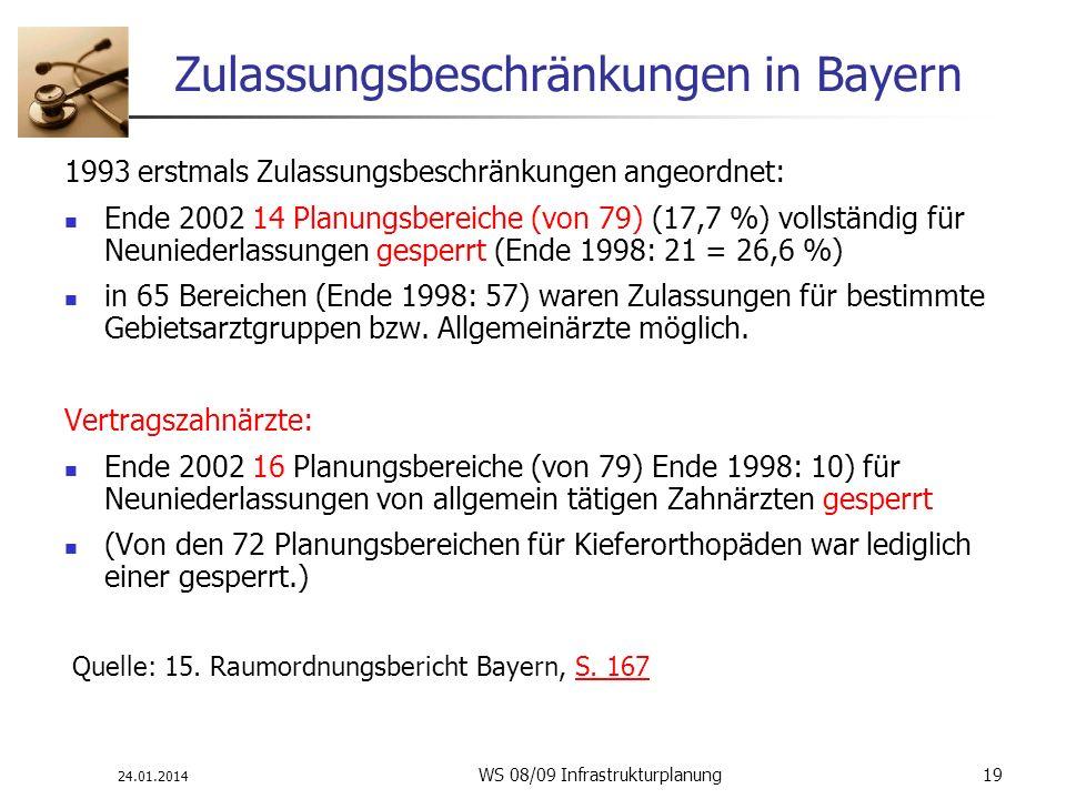 24.01.2014 WS 08/09 Infrastrukturplanung 19 Zulassungsbeschränkungen in Bayern 1993 erstmals Zulassungsbeschränkungen angeordnet: Ende 2002 14 Planung