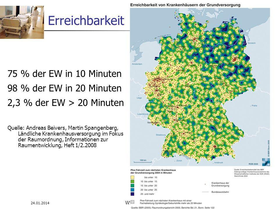 24.01.2014 WS 08/09 Infrastrukturplanung 28 Erreichbarkeit 75 % der EW in 10 Minuten 98 % der EW in 20 Minuten 2,3 % der EW > 20 Minuten Quelle: Andre