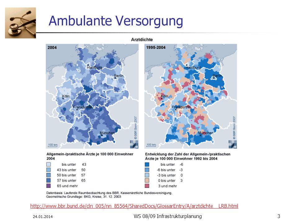 24.01.2014 WS 08/09 Infrastrukturplanung 3 Ambulante Versorgung http://www.bbr.bund.de/cln_005/nn_85564/SharedDocs/GlossarEntry/A/arztdichte__LRB.html