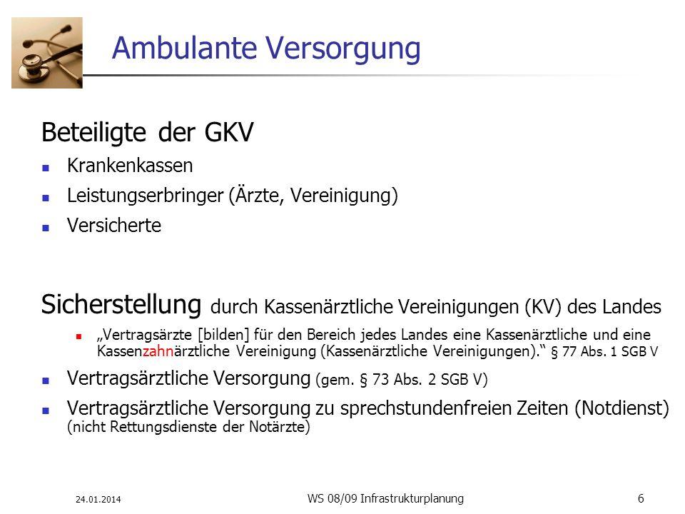24.01.2014 WS 08/09 Infrastrukturplanung 6 Ambulante Versorgung Beteiligte der GKV Krankenkassen Leistungserbringer (Ärzte, Vereinigung) Versicherte S