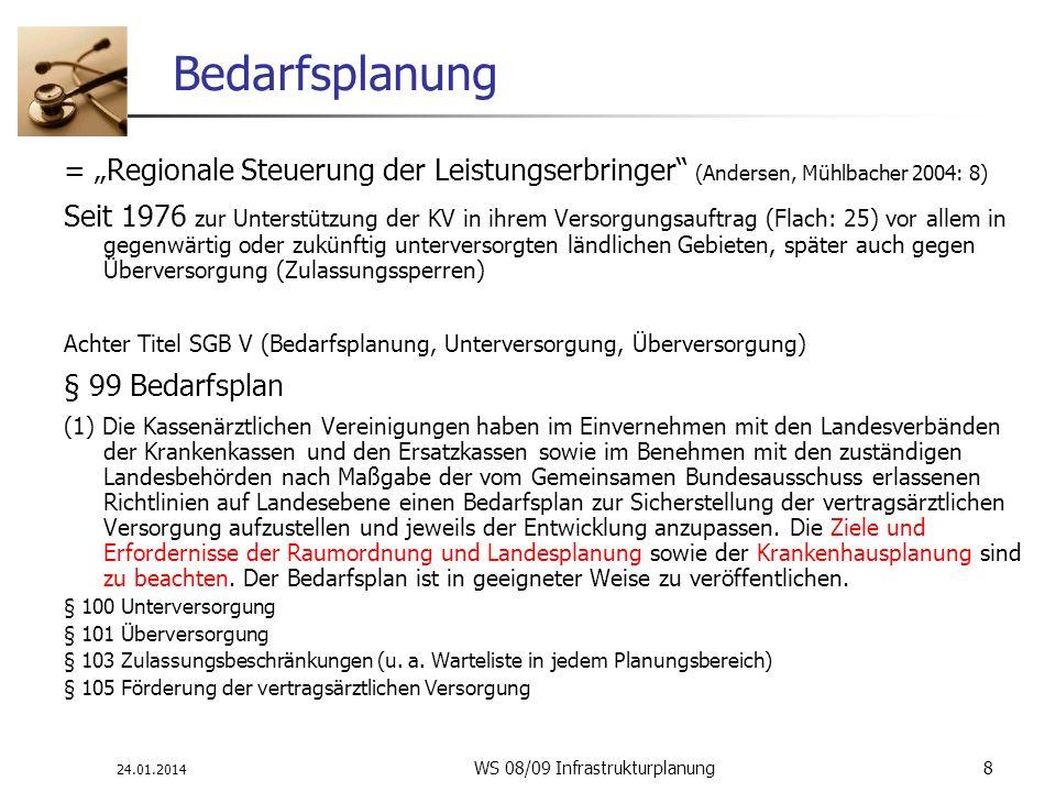 24.01.2014 WS 08/09 Infrastrukturplanung 8 Bedarfsplanung = Regionale Steuerung der Leistungserbringer (Andersen, Mühlbacher 2004: 8) Seit 1976 zur Un