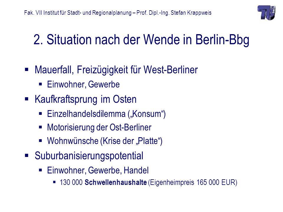 Fak. VII Institut für Stadt- und Regionalplanung – Prof. Dipl.-Ing. Stefan Krappweis 2. Situation nach der Wende in Berlin-Bbg Mauerfall, Freizügigkei
