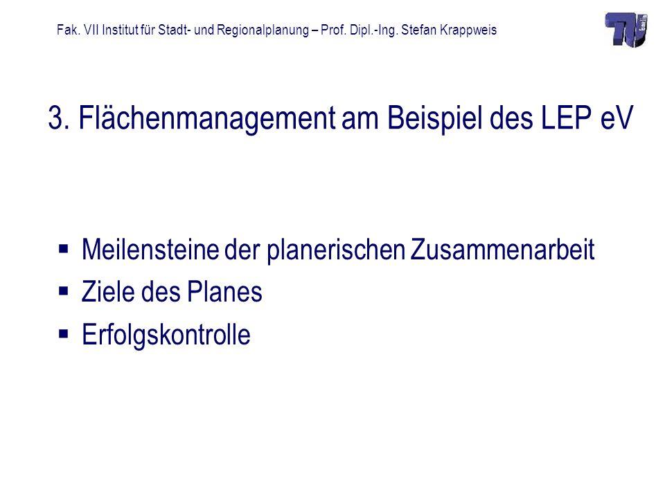 Fak. VII Institut für Stadt- und Regionalplanung – Prof. Dipl.-Ing. Stefan Krappweis 3. Flächenmanagement am Beispiel des LEP eV Meilensteine der plan
