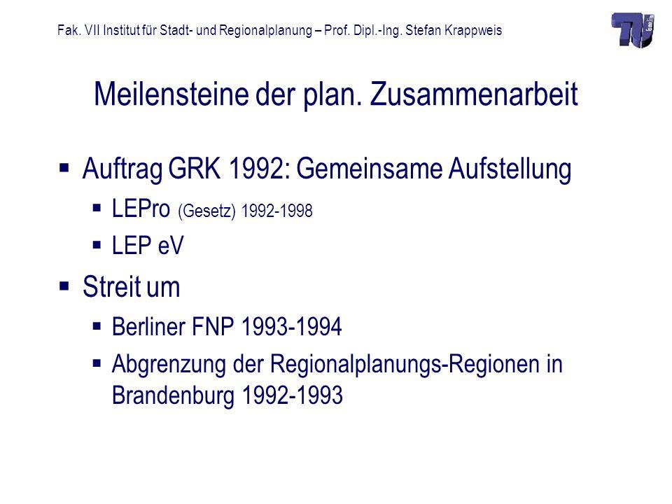 Fak. VII Institut für Stadt- und Regionalplanung – Prof. Dipl.-Ing. Stefan Krappweis Meilensteine der plan. Zusammenarbeit Auftrag GRK 1992: Gemeinsam