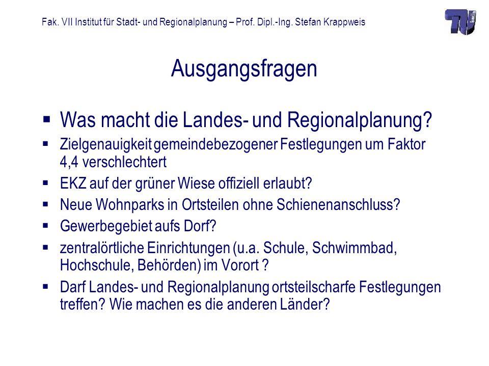 Fak. VII Institut für Stadt- und Regionalplanung – Prof. Dipl.-Ing. Stefan Krappweis Ausgangsfragen Was macht die Landes- und Regionalplanung? Zielgen