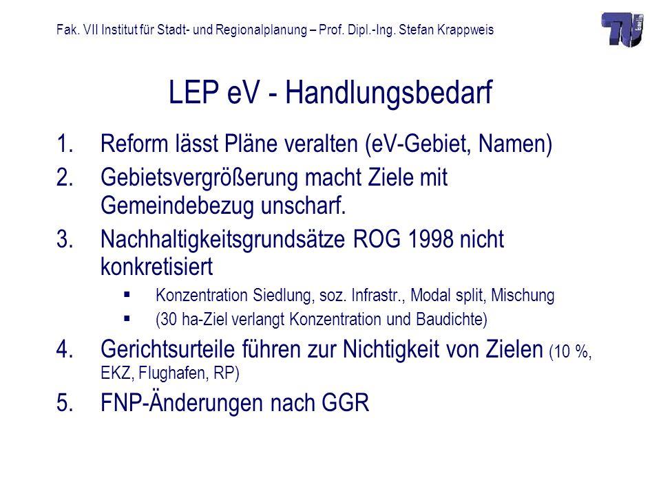 Fak. VII Institut für Stadt- und Regionalplanung – Prof. Dipl.-Ing. Stefan Krappweis LEP eV - Handlungsbedarf 1.Reform lässt Pläne veralten (eV-Gebiet