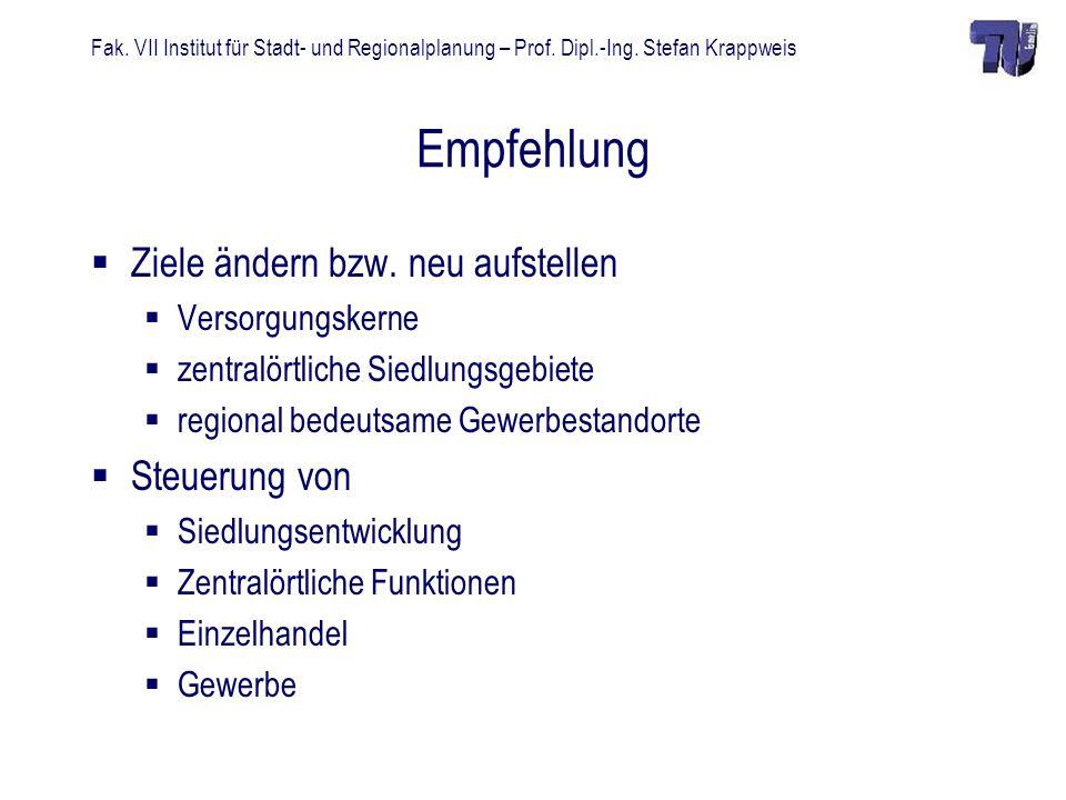 Fak. VII Institut für Stadt- und Regionalplanung – Prof. Dipl.-Ing. Stefan Krappweis Empfehlung Ziele ändern bzw. neu aufstellen Versorgungskerne zent