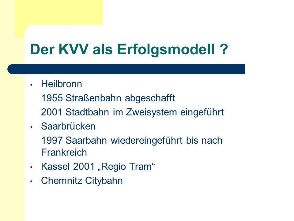 Der KVV als Erfolgsmodell ? Heilbronn 1955 Straßenbahn abgeschafft 2001 Stadtbahn im Zweisystem eingeführt Saarbrücken 1997 Saarbahn wiedereingeführt