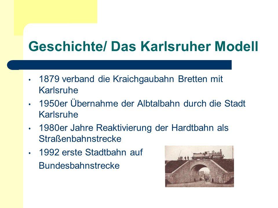 Geschichte/ Das Karlsruher Modell 1879 verband die Kraichgaubahn Bretten mit Karlsruhe 1950er Übernahme der Albtalbahn durch die Stadt Karlsruhe 1980e