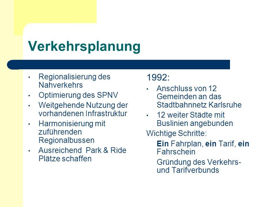 Verkehrsplanung Regionalisierung des Nahverkehrs Optimierung des SPNV Weitgehende Nutzung der vorhandenen Infrastruktur Harmonisierung mit zuführenden