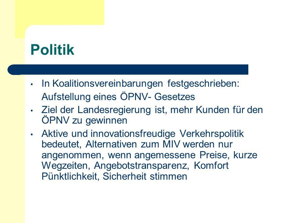 Politik Wichtige Rolle der Kommunen im Zuge der Strukturreform der Deutschen Staatseisenbahn Aufgaben- und Aufgabenverantwortung für den ÖPNV auf der Ebene der regionalen Gebietskörperschaften zusammenführen