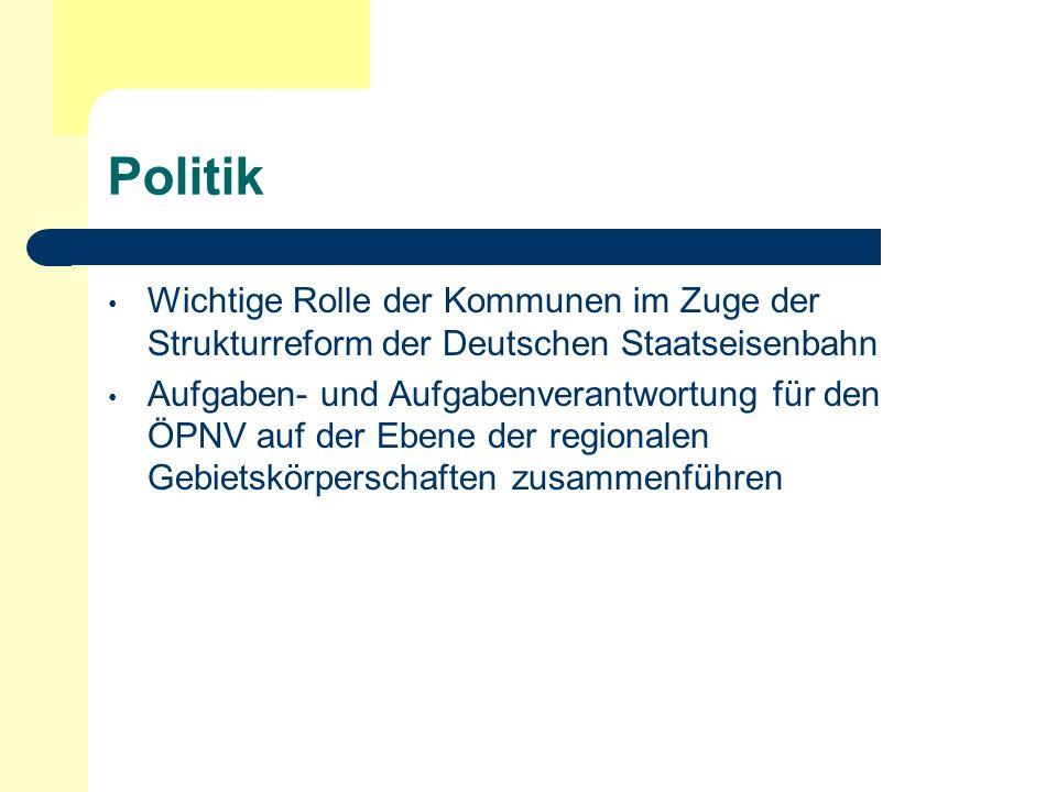 Politik Wichtige Rolle der Kommunen im Zuge der Strukturreform der Deutschen Staatseisenbahn Aufgaben- und Aufgabenverantwortung für den ÖPNV auf der