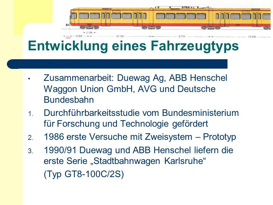 Entwicklung eines Fahrzeugtyps Zusammenarbeit: Duewag Ag, ABB Henschel Waggon Union GmbH, AVG und Deutsche Bundesbahn 1. Durchführbarkeitsstudie vom B