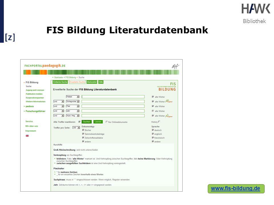 Bibliothek FIS Bildung Literaturdatenbank www.fis-bildung.de